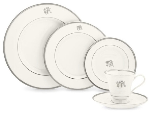 $108.00 Platinum Monogrammed Cup and Saucer