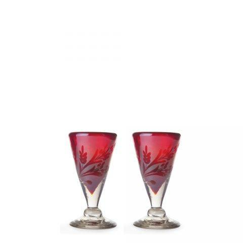 $150.00 Lustre d\'Pasion Cordial Set of 2 Red