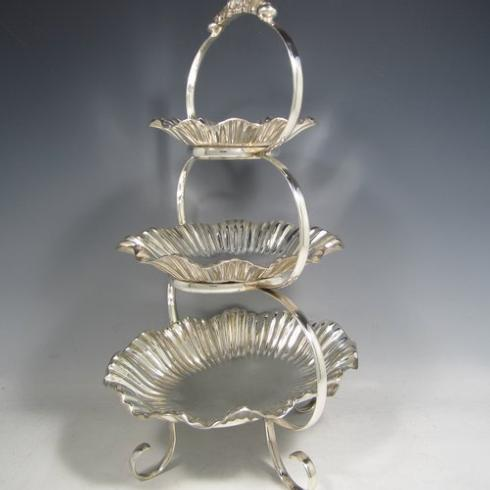 PS The Letter Exclusives   Corbell and Co. Antique Three Tiered Silver Cake Stand  $660.00