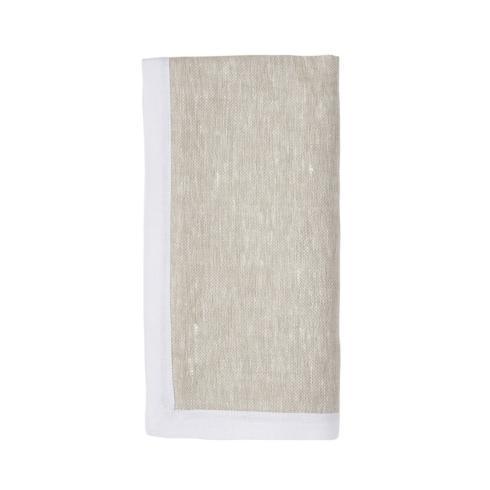 $35.00 Cabana Border White Flax Napkin
