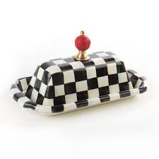 Courtly Check Butter Dish-Enamel