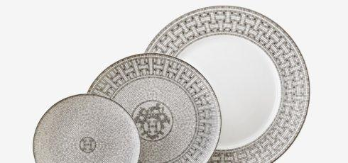Hermes Mosaique Au 24 Platinum 3 Piece Place Setting