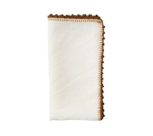 Kim Seybert Linens  Napkins Knotted Edge Napkin In White, Natural & Brown $28.00