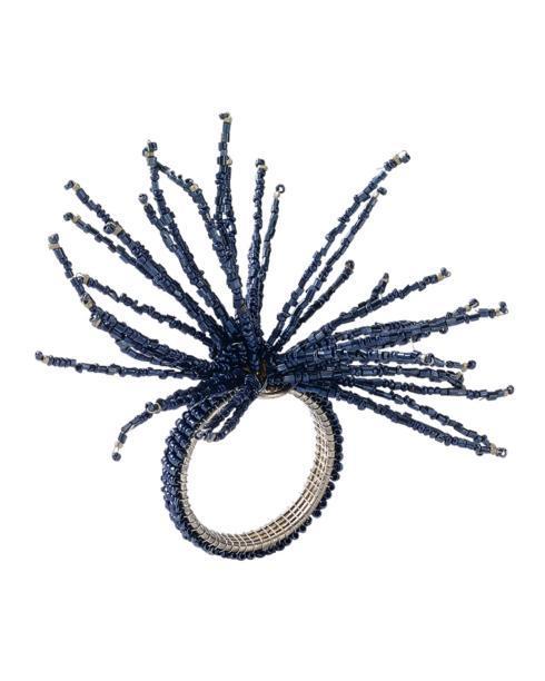 $14.00 Navy Spider Bead Napkin Ring