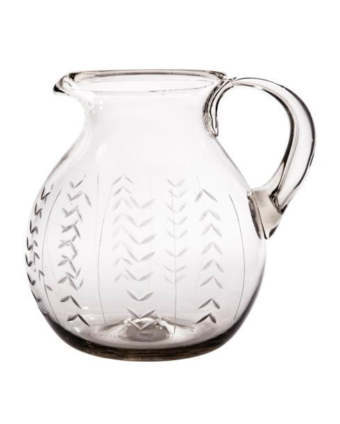$195.00 Floreado Clear Glass Pitcher with Laurel Engraving