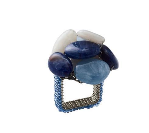 Kim Seybert Linens  Napkin Rings SEA STONE NAPKIN RING IN NAVY $14.00