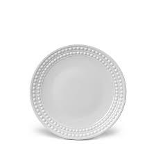 L'Objet Perlee White  Perlee White Dessert Plate $36.00