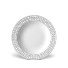 L'Objet Perlee White  Perlee White Rim Soup $40.00