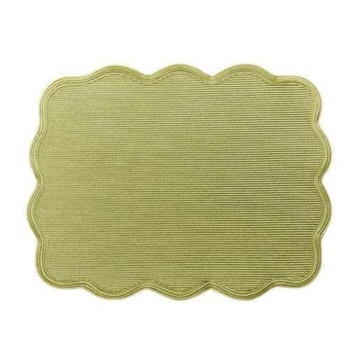 Deborah Rhodes  Placemat Rectangle Scallop Placemat in Moss/Canary Set of 4 $220.00