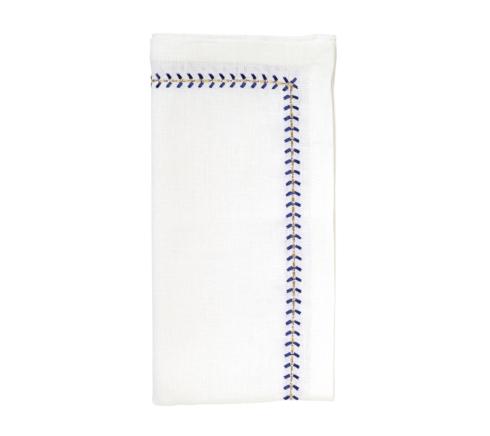 Kim Seybert Linens  Napkins Herrinbone Napkin in White, Cobalt, and Metallic  $33.00