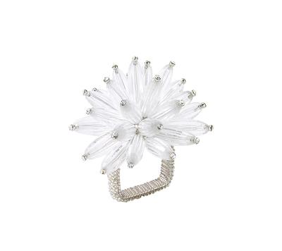 Kim Seybert Inc. Clear and Silver Flower Napkin Ring collection with 1 products