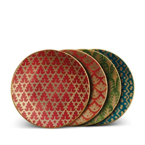 $195.00 Assorted Canape Plates Set of 4- Red, Orange, Green and Teal