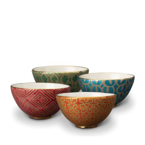 $370.00 Assorted Cereal Bowls Set of 4- Red, Orange, Green and Teal