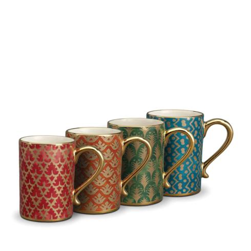 $370.00 Assorted Mugs Set of 4- Red, Orange, Green and Teal