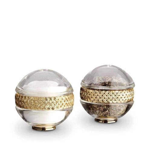 L'Objet  Salt and Pepper Shakers Braid Gold $150.00