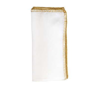PS The Letter Exclusives   Kim Seybert Crochet White Napkin with Gold Stitching  $22.00
