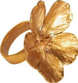 Deborah Rhodes   Gold Flower Napkin Rings $23.00
