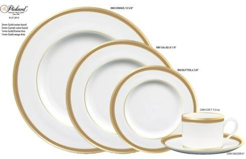 Pickard Camel Rim Signature White Bread and Butter Plate Gold