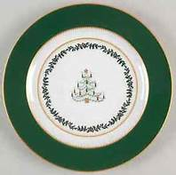 Bernardaud  Grenadiers (Recently Discontinued) Grenadiers Green Tree Accent Plate $69.00