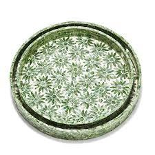 Daisy Set of 2 Mother of Pearl Decorative Trays
