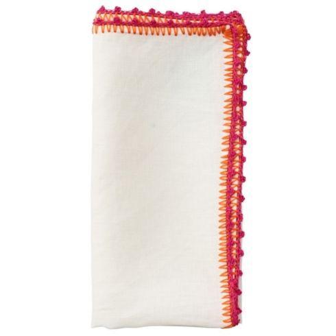 Kim Seybert Linens  Napkins KIM SEYBERT S/4 Knotted Edge Napkins, White/Pink $104.00