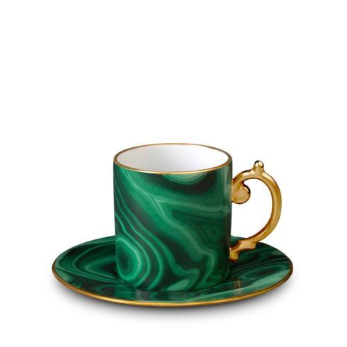 L'Objet  Malachite Espresso Cup and Saucer $80.00