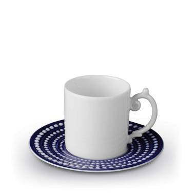 L'Objet Perlee Blue Espresso Cup and Saucer $78.00