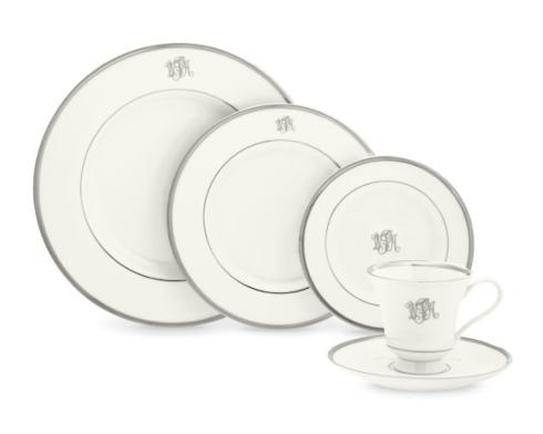$75.00 Pickard Monogram White Dinner with Platinum Mono