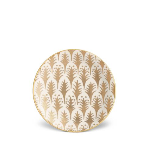 L'Objet  Fortuny Piumette White and Gold Canape Plates Set of 4 $195.00