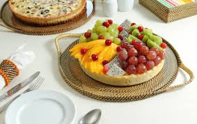 "Calaisio  Trays/Platters 13"" Round Serving Tray with Glass $69.00"