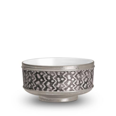 $370.00 Tapa Black and Platinum Cereal Bowls Set of 4
