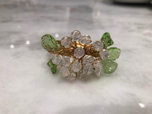 $25.00 Glass Hydrangea Napkin Ring