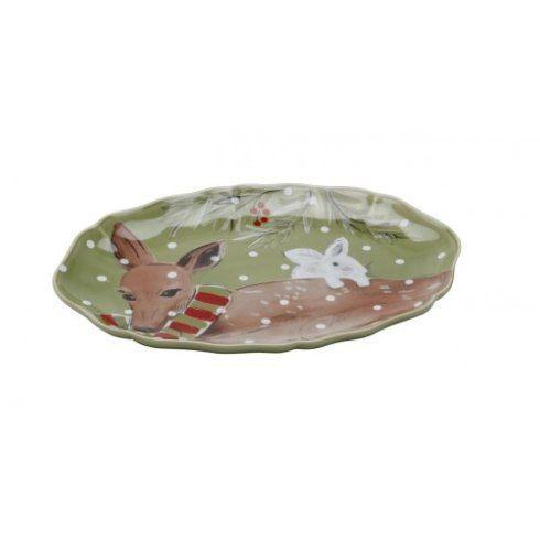 $41.00 Small Oval Platter - Casafina Deer Friends