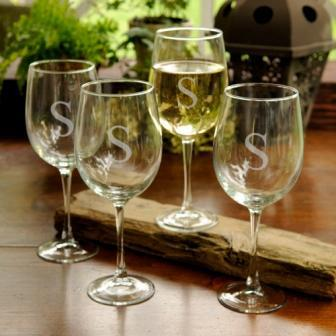 Wine Glass (set4) Stem Acrylic Monogrammed