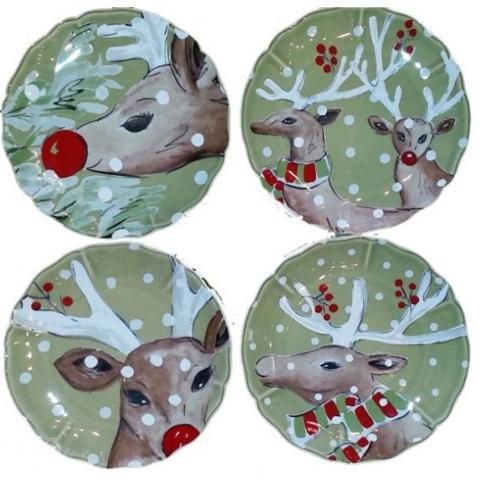 Plum Southern Exclusives   Salad Plate - Casafina Deer Friends (Green) Set4 $108.00
