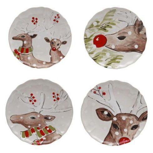 Plum Southern Exclusives   Dinner Plate - Casafina Deer Friends White - Set4 $124.00