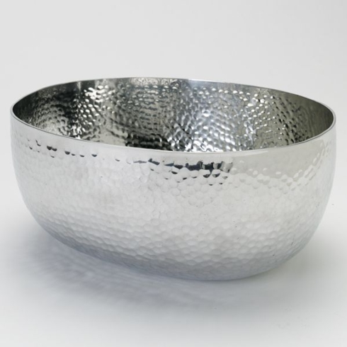 India Handicrafts   Hammered Deep Oval Salad Bowl $34.00