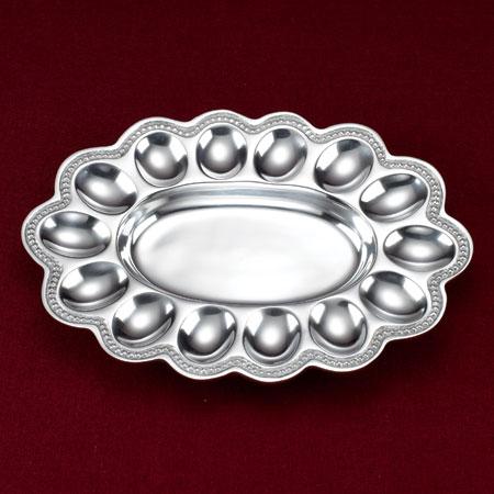 India Handicrafts   Baded Aluminum Egg Tray $35.00
