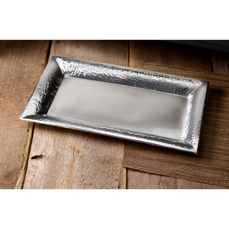 India Handicrafts   Rectangle Smooth Tray wHammered Edge $42.00