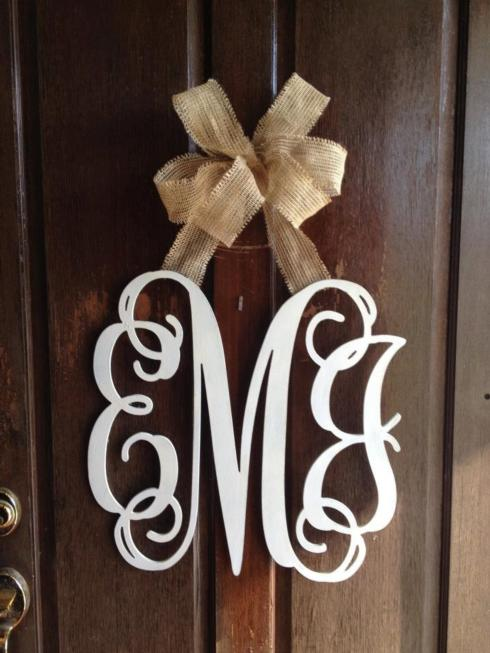 Door Hanger - 3 Letter Monogram  (wood or metal) collection with 1 products