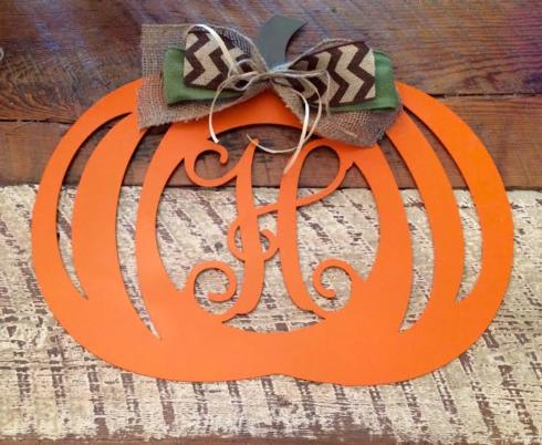 Plum Southern Exclusives   Door Hanger Metal Initial Pumpkin  $50.00