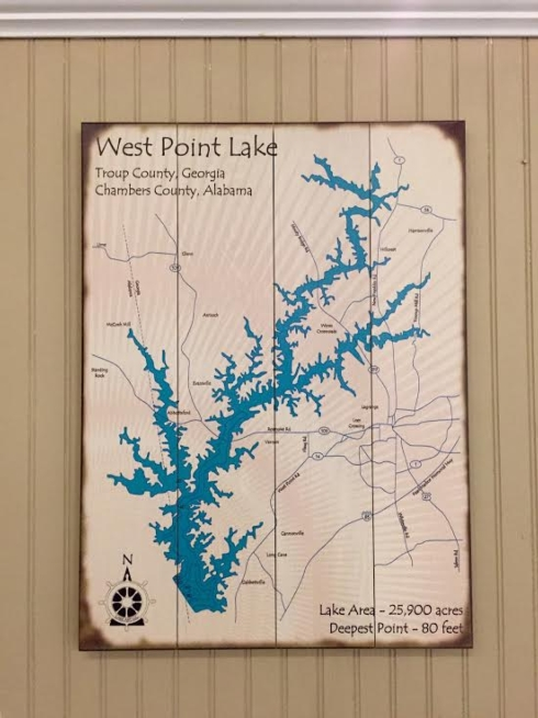 Plum Southern Exclusives   Lake Sign - West Point Lake - 17x23