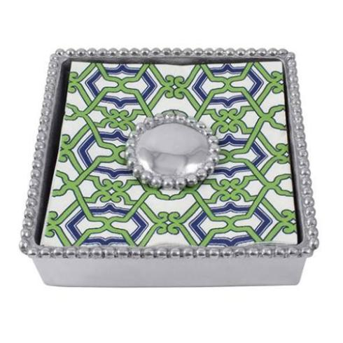$48.00 Napkin Box Beaded with Napkins ( Beaded Disc)
