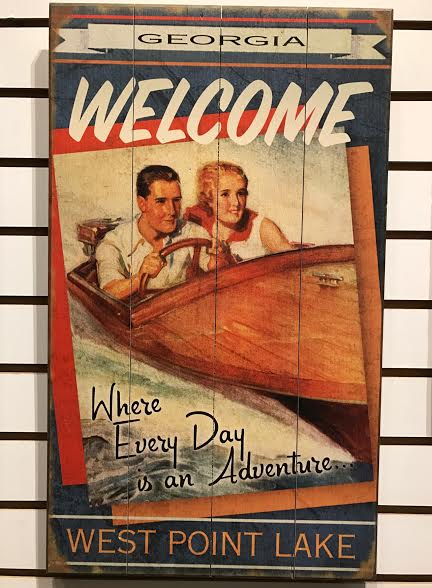 Lake Sign (Vintage Boat) - 14x24 (These can be custom made) collection with 1 products