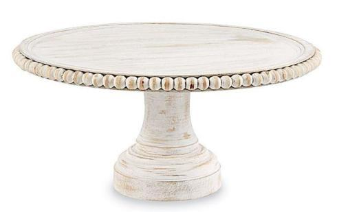 $45.00 WhiteWashed Beaded Cake Stand