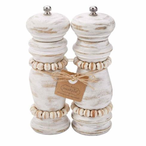 $48.50 White Washed Beaded Salt & Pepper Grinder Set