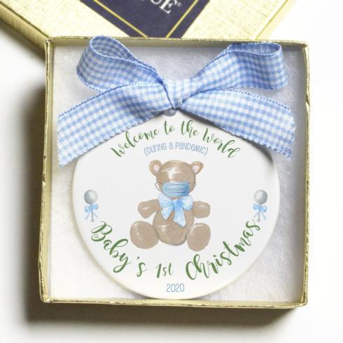 $18.00 Pandemic Ornament - Baby Boy 1st