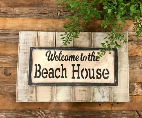 """$24.50 Wood Sign - Welcome to Our Beach House - 16"""" x 9"""""""