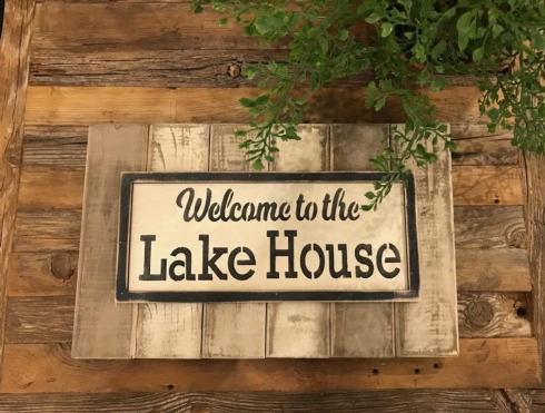 """$24.50 Wood Sign - Welcome to Our Lake House - 16"""" x 9"""""""
