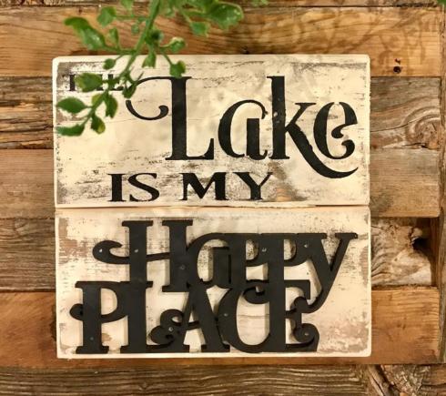 "$11.50 Wood Sign (Lake) 7"" x 7"""